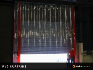 Example of PVC curtains in an industrial setting