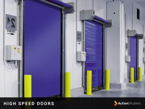 High speed industrial doors installed at a workshop in Birmingham